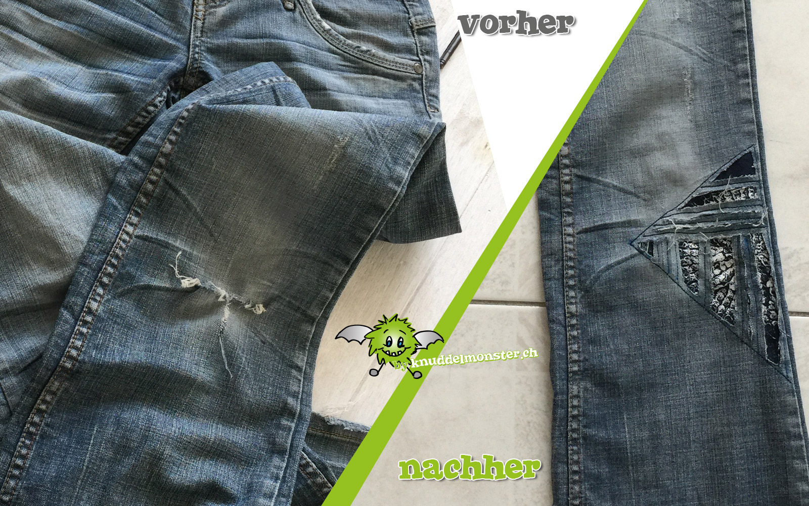 Jeans flicken durch negativ applizieren