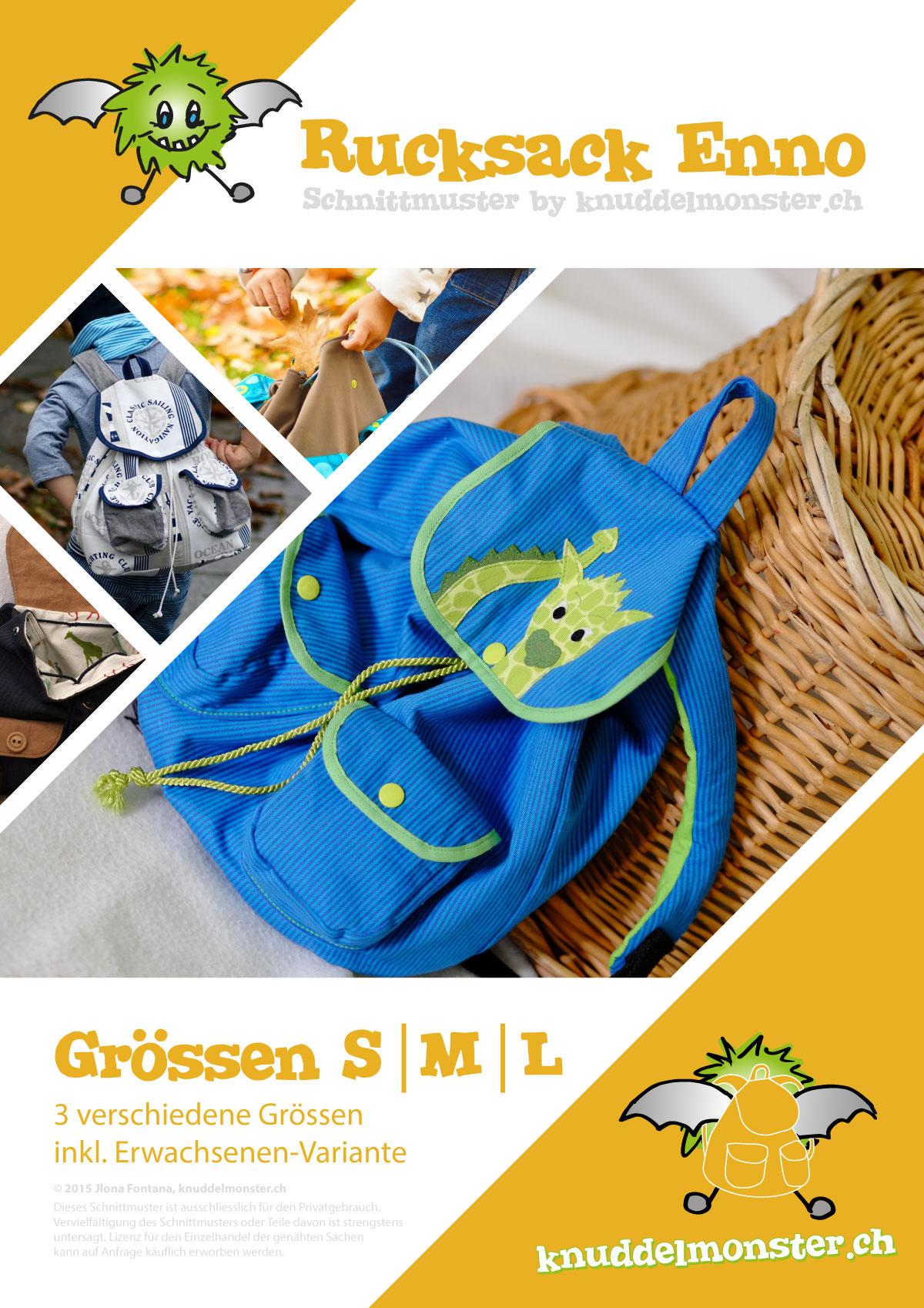 Schnittmuster – Rucksack Enno – Grössen: S, M, L | Knuddelmonster